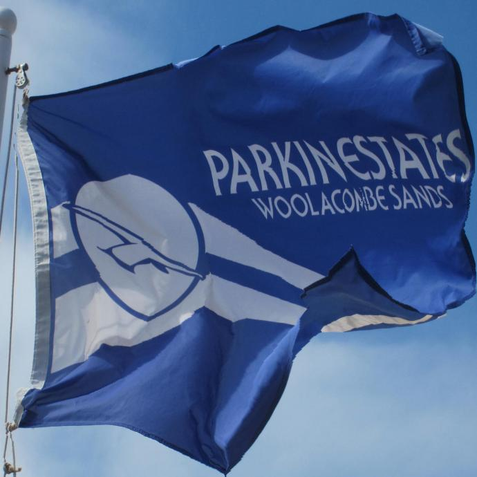 Parkin Estates Flag on Woolacombe Beach Devon