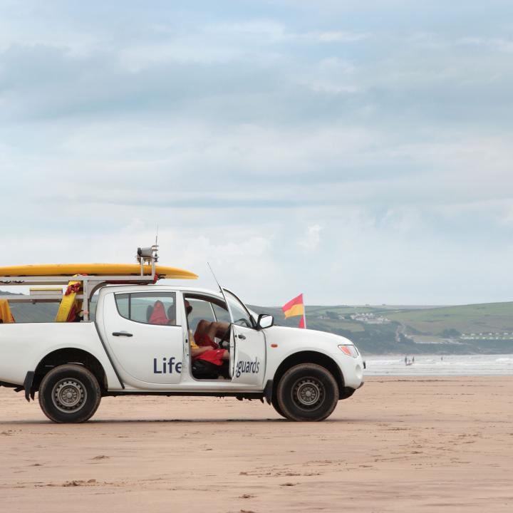 RNLI Lifeguards on Woolacombe Beach North Devon